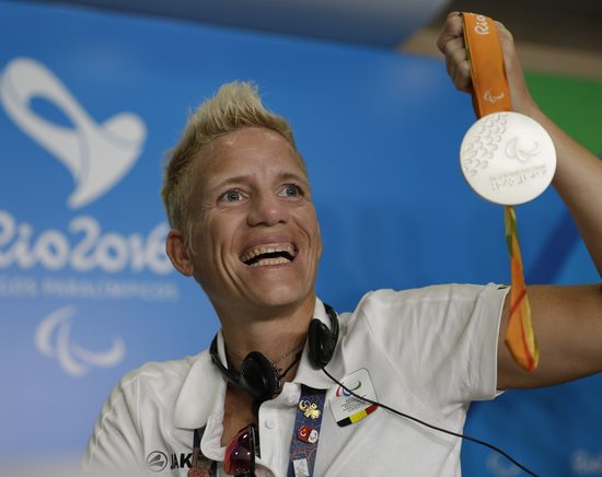 Belgium's Marieke Vervoort poses for the photo as she holds her silver medal after speaking during a press conference, during the Rio Paralympic games in Rio de Janeiro,  Brazil, Sunday, Sept. 11, 2016. (AP Photo/Leo Correa)