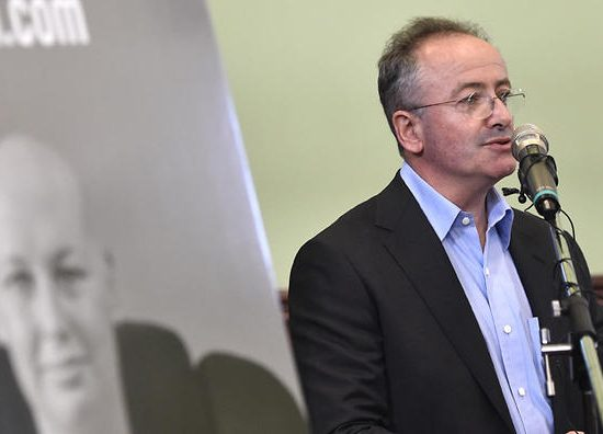 Andrew Denton at the launch of the voluntary euthanasia campaign at old parliament house in Adelaide, Friday September, 23, 2016. (AAP Image/David Mariuz) NO ARCHIVING