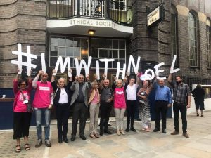 Attendees of the Dignity in Dying UK AGM on 30 June 2017 sending a message of support to Nowl Conway